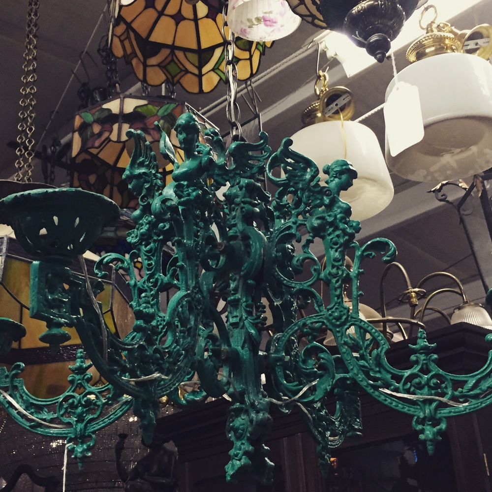 Green Iron Chandelier.JPG