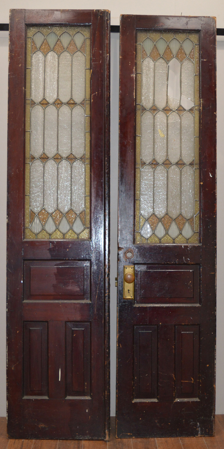 Pair of Leaded Glass Doors - Pair Of Leaded Glass Doors — Antiques & Architectural Salvage