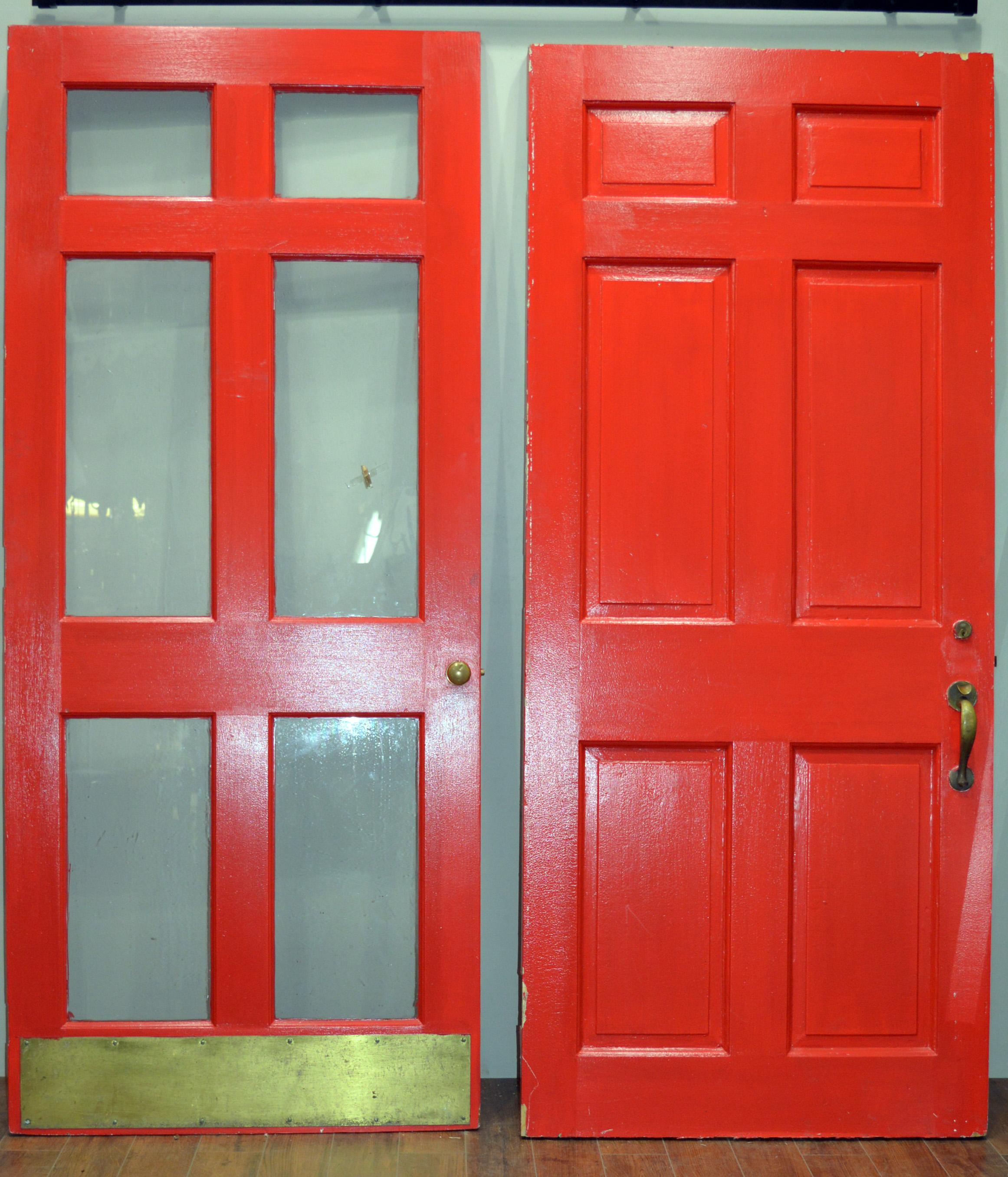Coral Red 6 Panel Front Door U0026 Storm Door