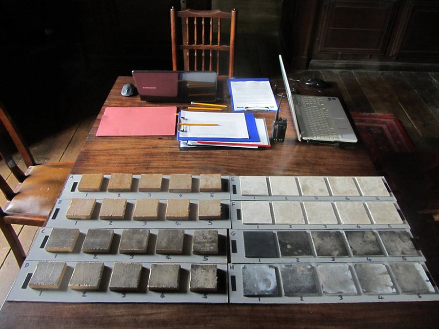 Perception experiment at Chastleton House. Visitors were asked to assess arrays of samples deliberately soiled to different levels.