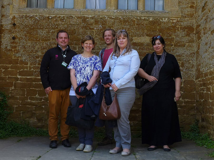 Part of the Coming Clean team visits Chastleton House, one of the National Trust properties where visitorsurveys were carried out. From left to right,House StewardSebastian Conway withproject members Catherine Dillon, Graeme McArthur, Katy Lithgow andStavroula Golfomitsou.
