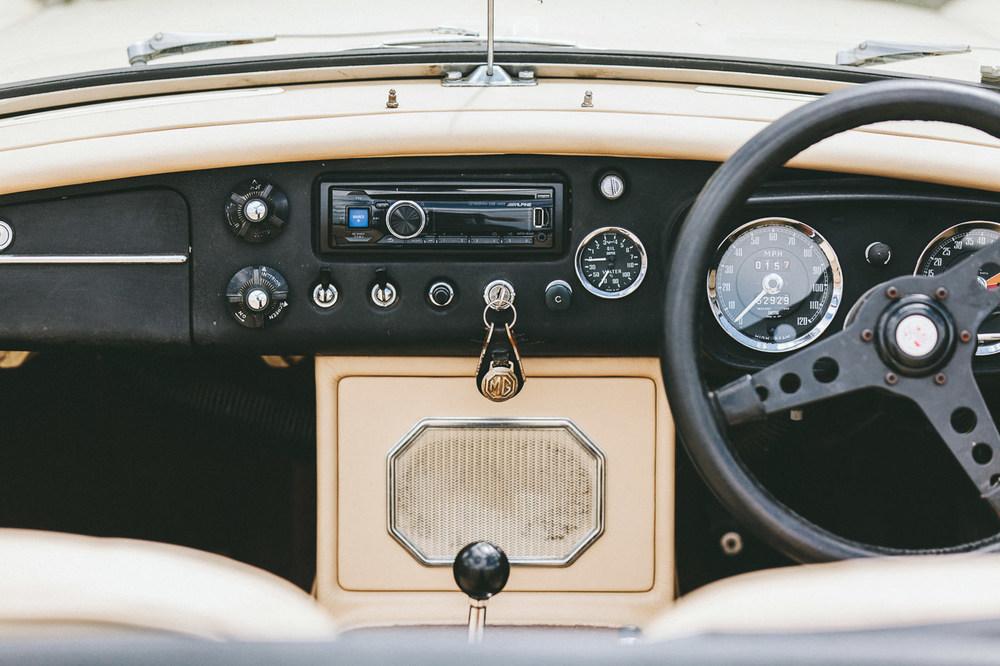 Borrowed MG bridal car