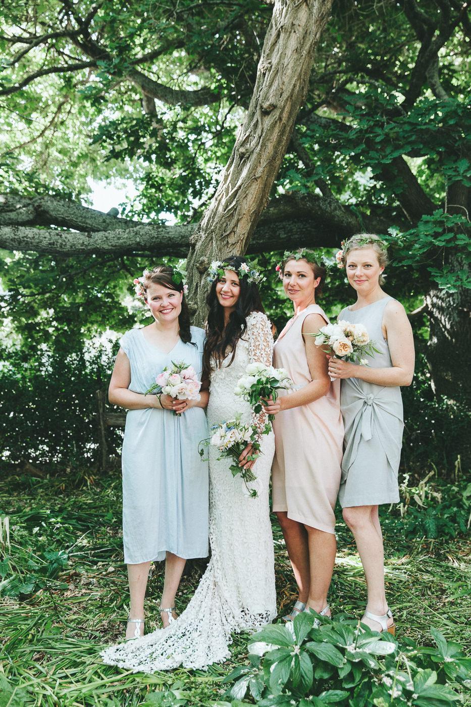 Bride and Bridesmaids in a Tasmanian garden