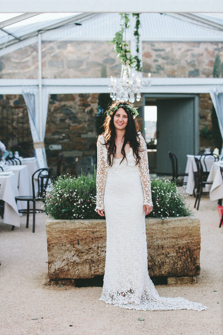Bride in the reception marquee
