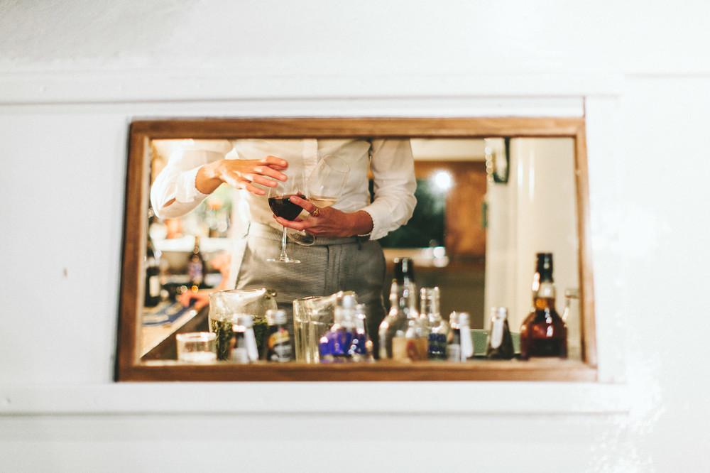 Custom made caravan bar for the reception