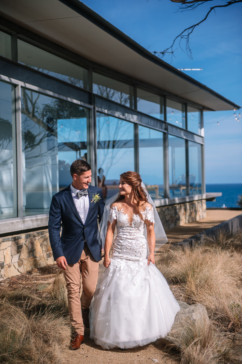 Bride and groom at Avalon Coastal retreat