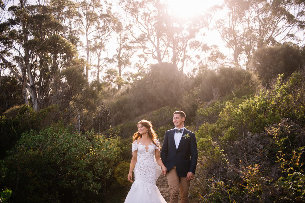 Bride and groom in bushland at Avalon Coastal retreat