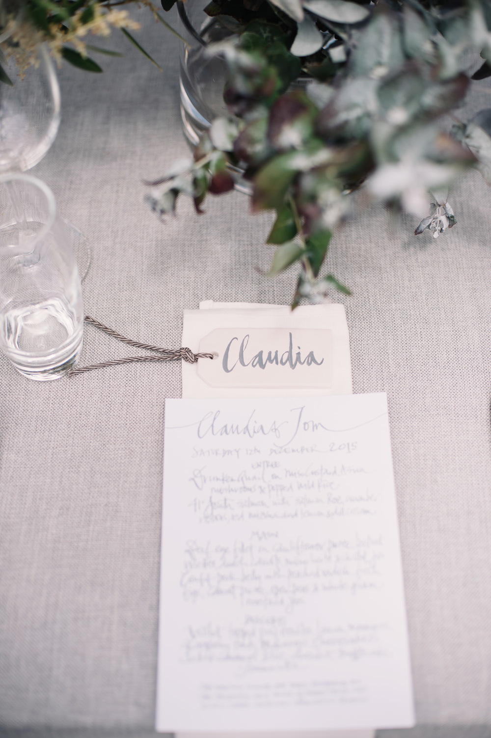 handwritten calligraphy details Tasmanian Country wedding