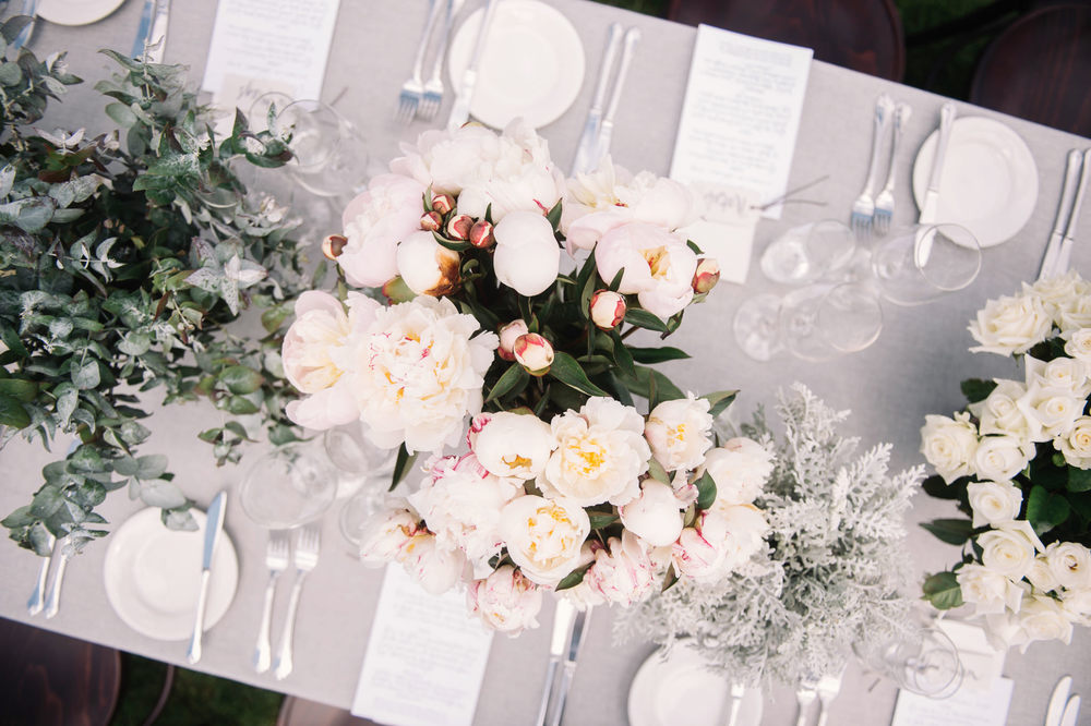 Tablescape of peony roses Tasmanian country wedding