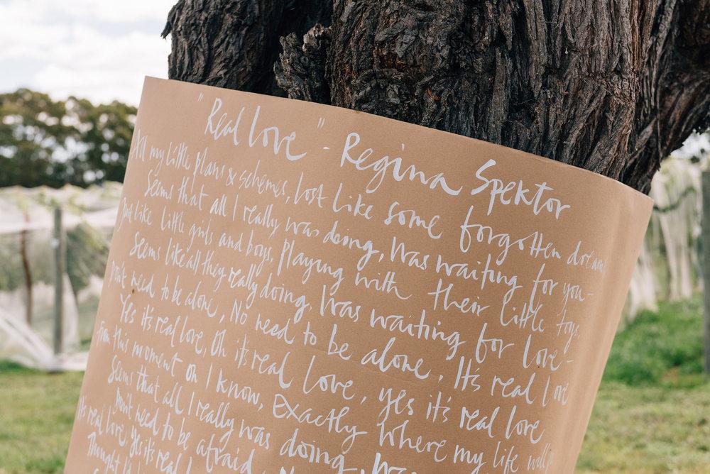 Hand written song lyrics around the Blackwood tree