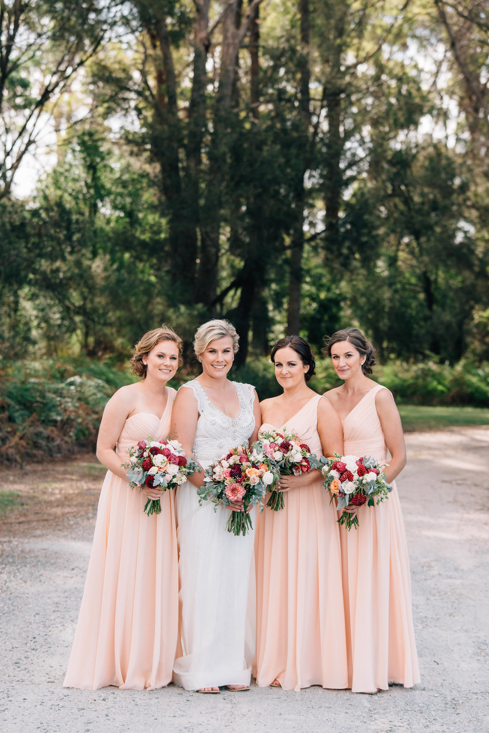 Bride and bridesmaids at Goaty Hill