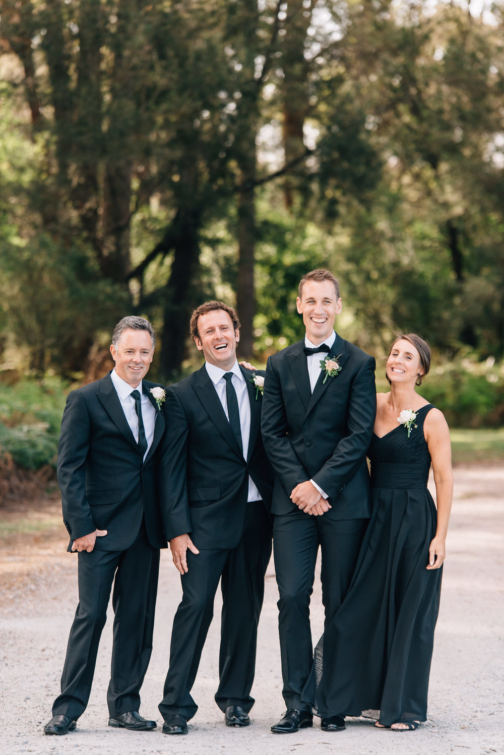Groom, groomsmen and groomsmaid