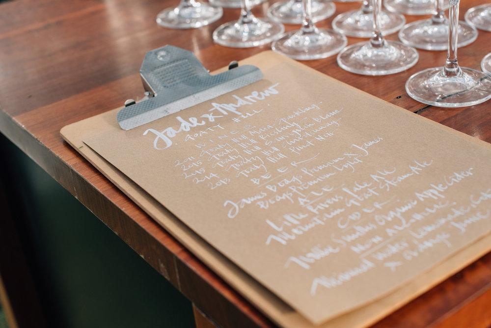 Hand written drinks menu