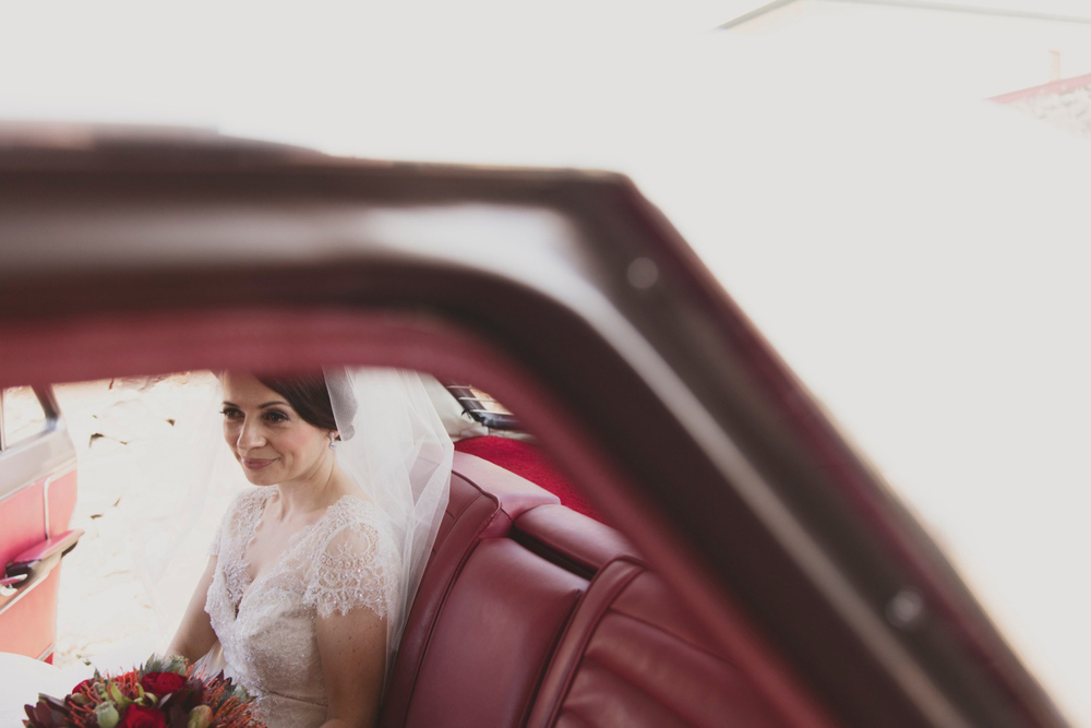 The bride arriving in an Australian Classic