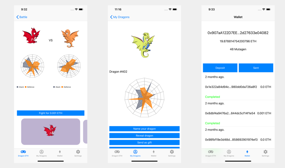 Dragon ETH Prototype Screenshots