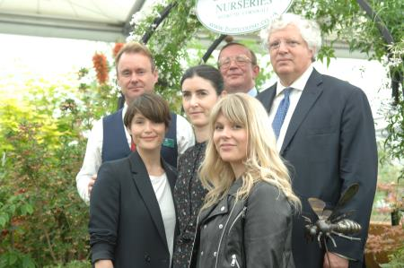 Burncoose nurseries win gold at Chelsea Flower Show 2017. May | 2017  Picture: John Hill from Burncoose Nurseries, Gemma Arterton, Gabrielle Evans from the Prince's Trust Enterprise Programme, Charles Williams from Burncoose Nurseries, Hannah Arterton and Guy Hands from Terra Firma   Article link