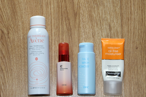 My go-tos this Summer: Avene'sThermal Water, DHC's Resveratrol Essence and Face Wash Powder, and Neutrogena'sVisibly Clear Oil-Free Moisturiser