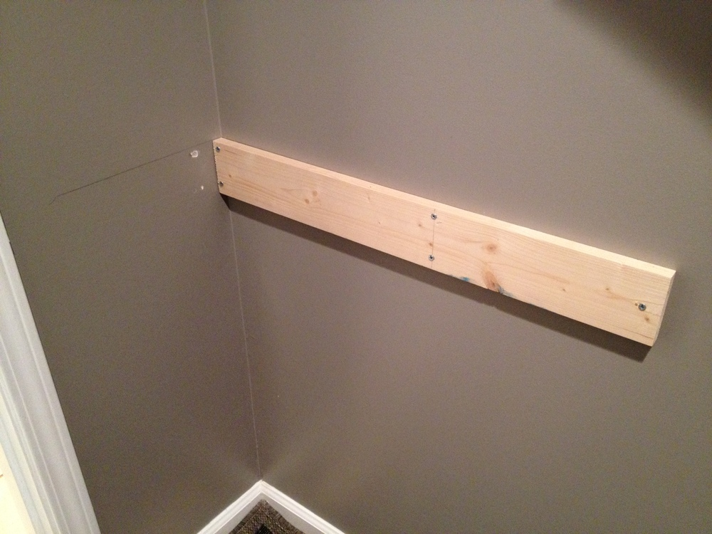 Once Both Boards Were Up On The Wall, We Double Checked That Our Brackets  Would Fit Snugly Underneath The Shelf. One Bracket Got Screwed On The Right  Side ...