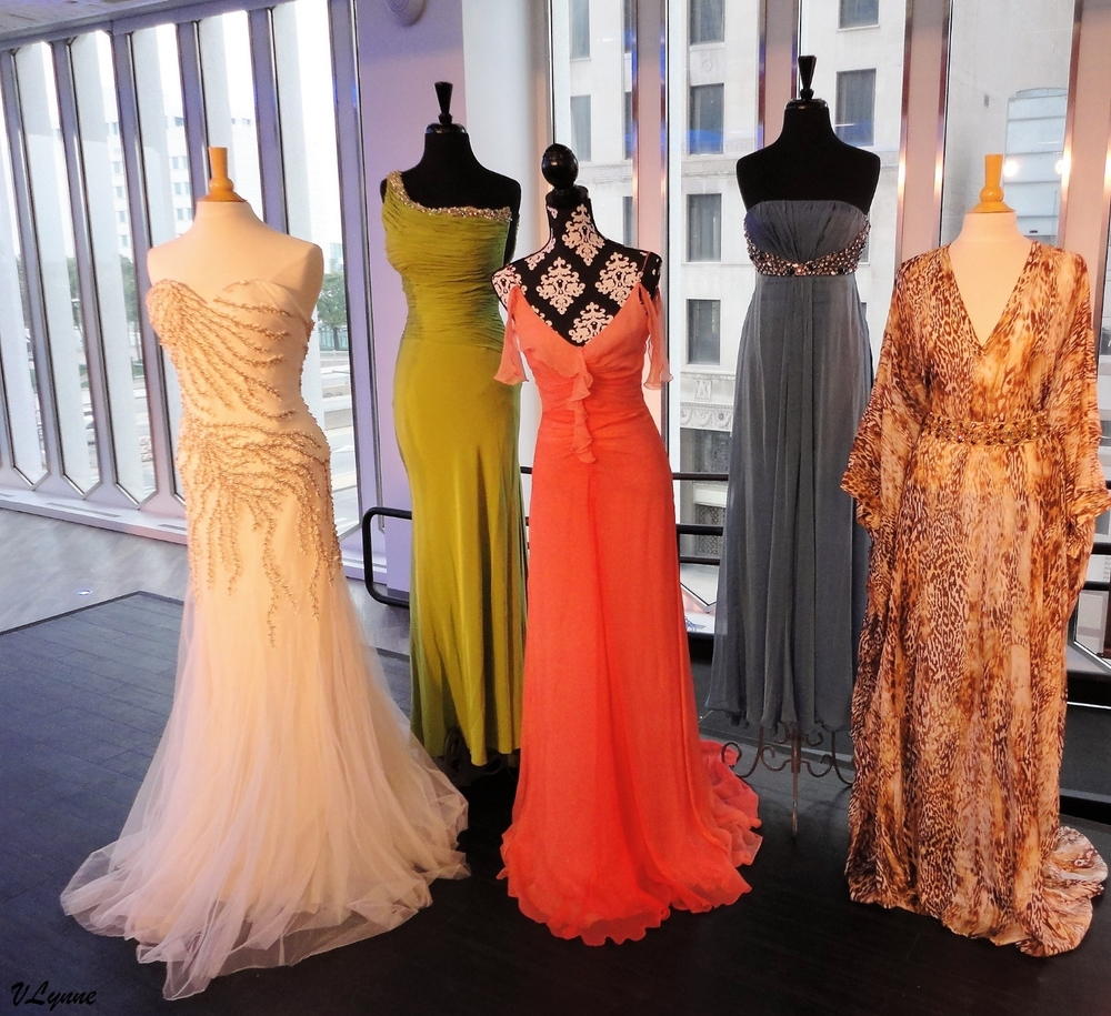 Gowns worn by Vanessa Williams, Vivica Fox, Jordin Sparks, Edie Falco and Jill Scott. (From left to right)