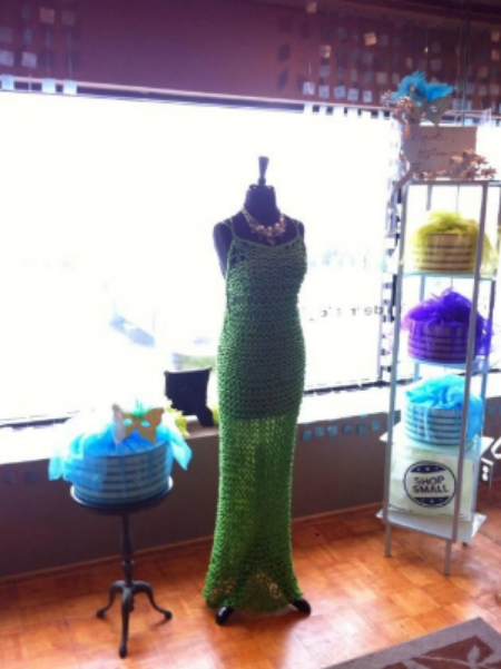 Green Lennie Knit Dress made from Repurpose Rayon Cord