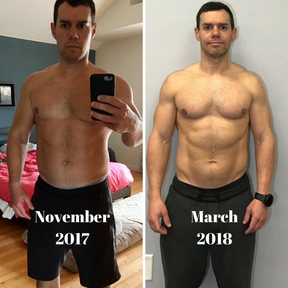 Dan's progress from November 2017 to March 2018