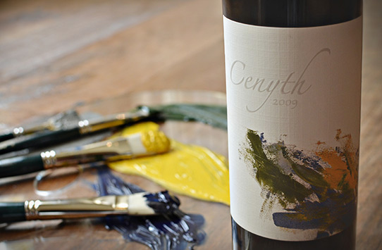 The label for Cenyth is designed by artist Julia Jackson