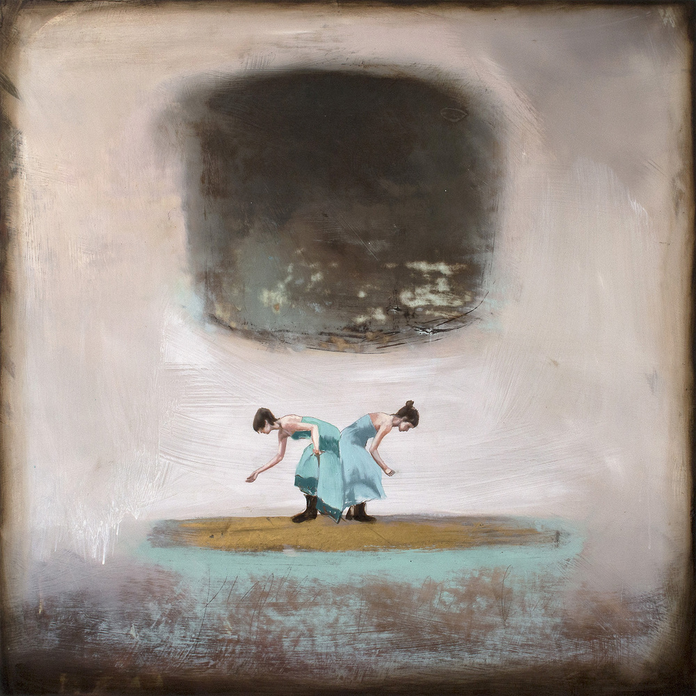 "Alicia Armstrong: peace hovering, oil and graphite on wood panel, 30""x30"", 2015"