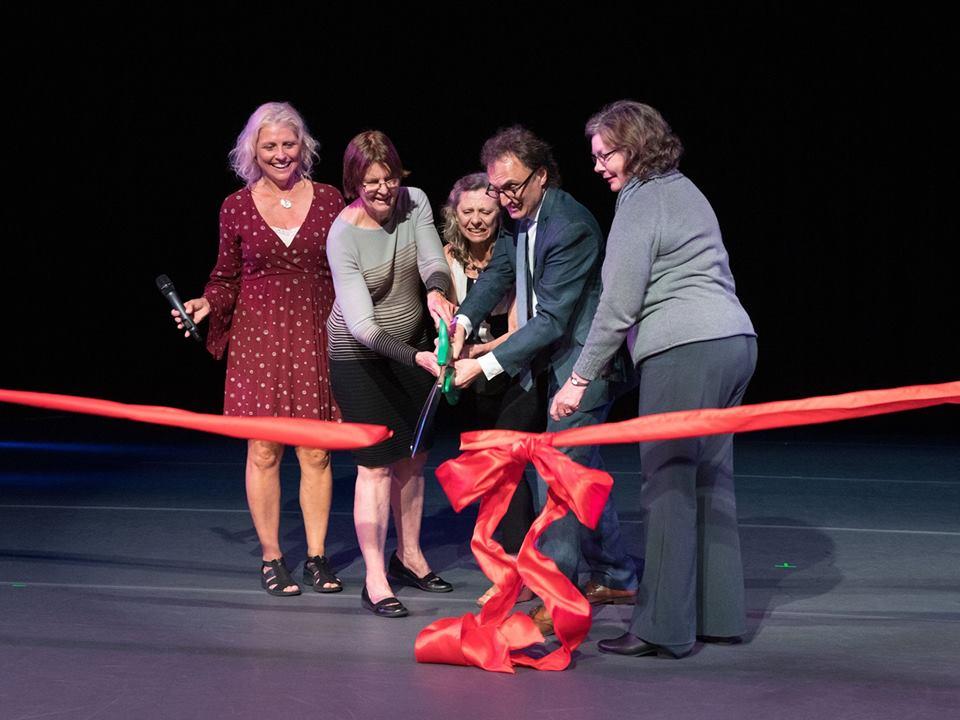 First we cut the ribbon, remember? Thanks to Mayor Tisdahl for bringing her massive industrial-grade scissors. (L-R Liz Kidera, Mayor Elizabeth Tisdahl, Béa Rashid, Steve Rashid, Elaine Kemna-Irish