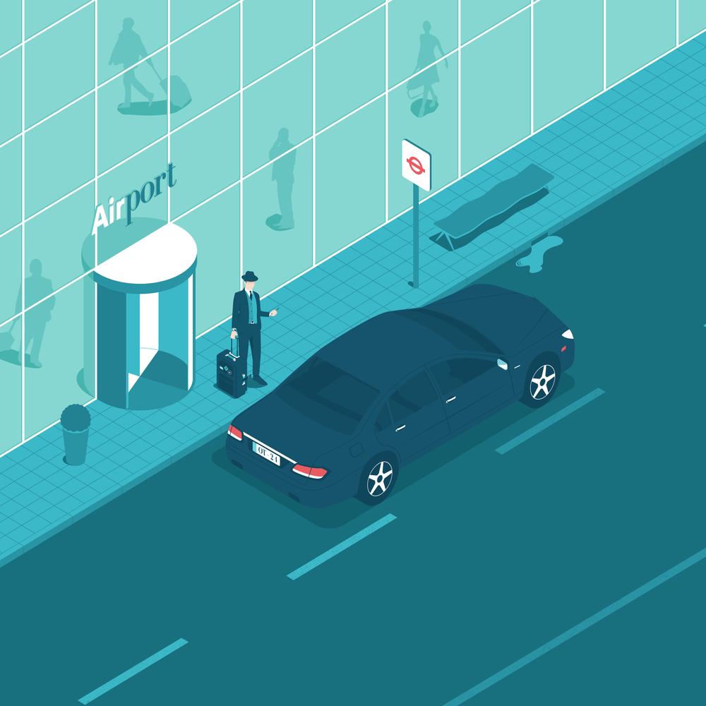 The airport. Front page illustration of a business man who just arrived to town. The man is waiting for a Taxi.    Client: company  OT-24     Production year: 2015