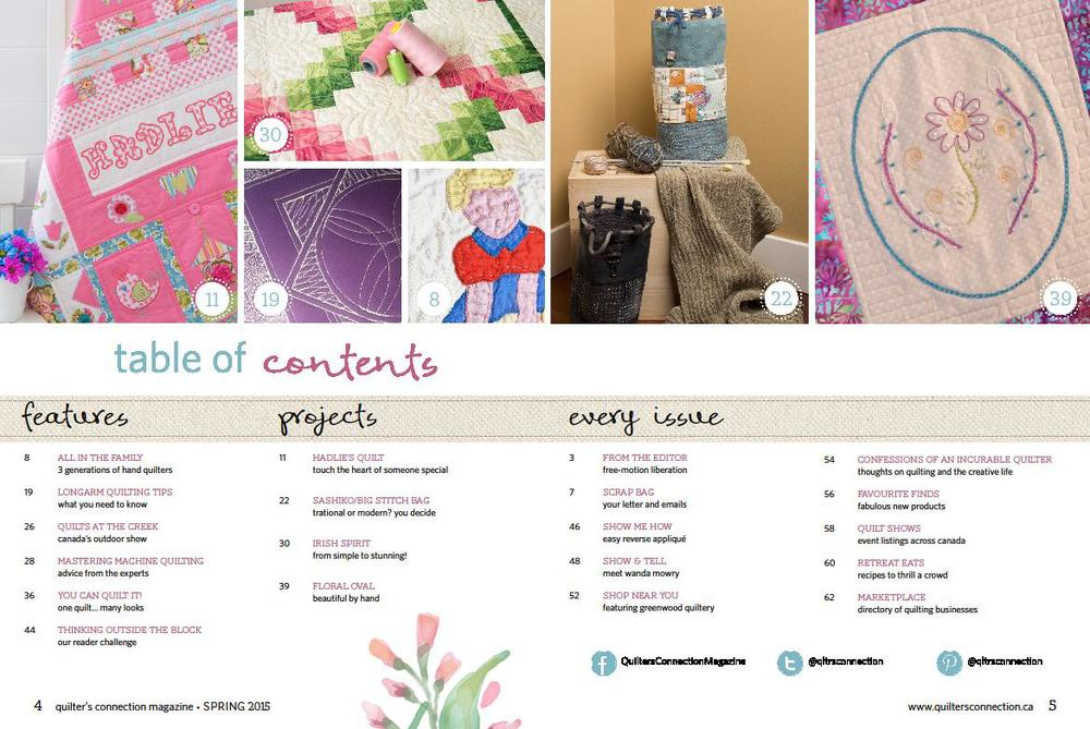 Quilter's Connection Magazine Spring 2015 table of contents Photo courtesy of quiltersconnection.ca