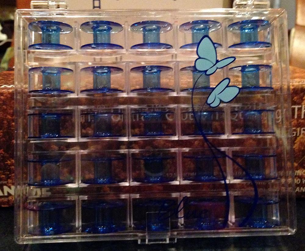 Pretty blue Janome bobbins