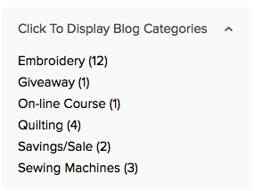 When you click on the down arrow, you'll see the various subject categories as well as the number of blogposts about those subjects.