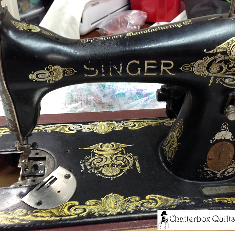 My vintage Singer 115 sewing machine in the process of being cleaned.