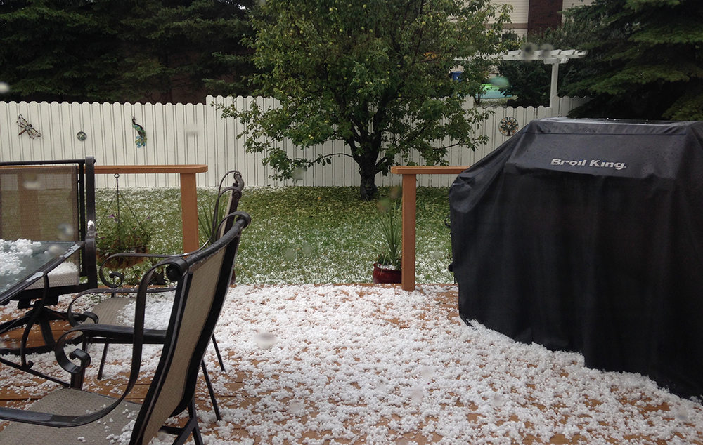 Just a bit of hail on the back deck.