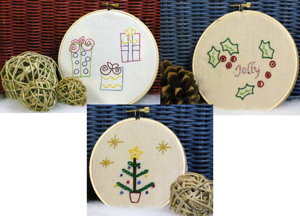 Christmas Stitchery Set by Chatterbox Quilts includes 3 seasonal designs.