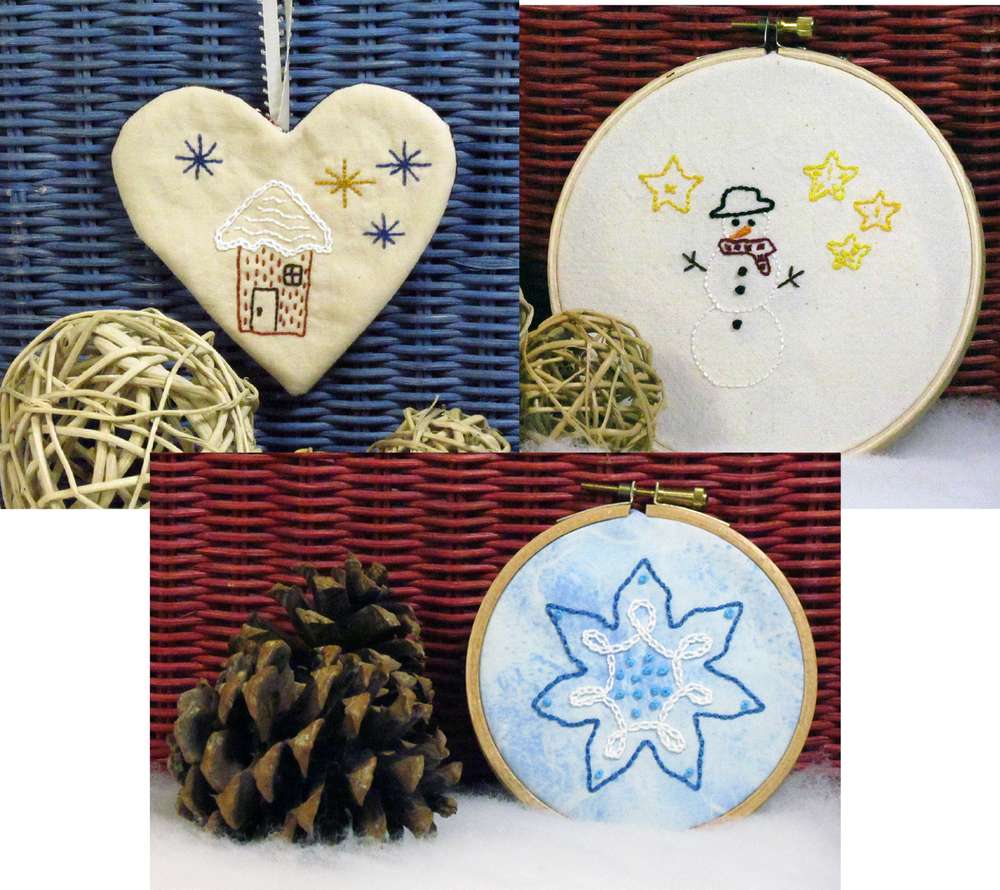 Winter Stitchery Set by Chatterbox Quilts can be made into an ornament or wall hanging.