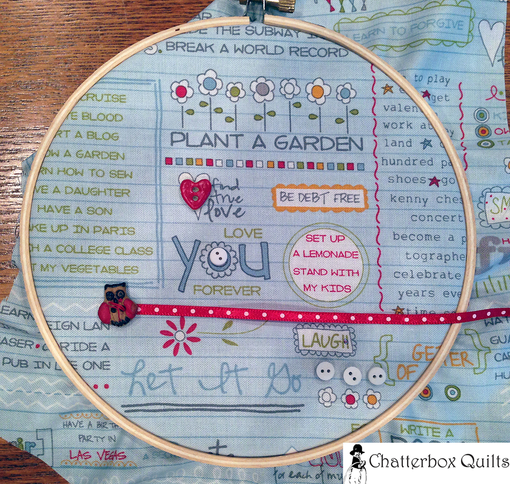 Looking for a really quick gift - and no sewing. Create this quick project in a hoop and you'll be done in no time. Lots of embellishment opportunities with this project.