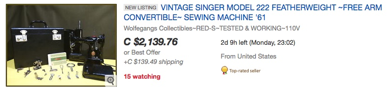 SINGER® 222 ad on eBay.ca