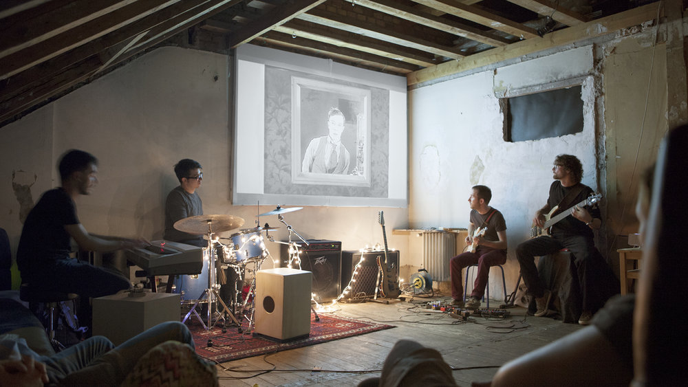 "Buster Keaton's silent movie ""Sherlock Jr."" accompanied with live music by Hermes Baby"