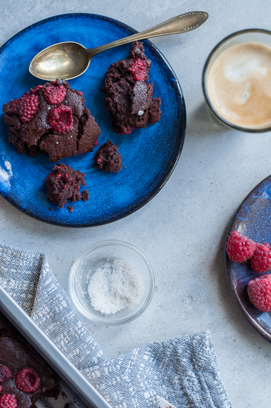 Vegan Raspberry Miso Chocolate Brownies - Kitchen Hoopla