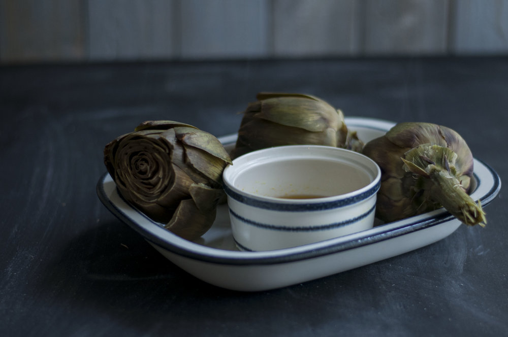 artichokes with lemon dip - kitchen hoopla