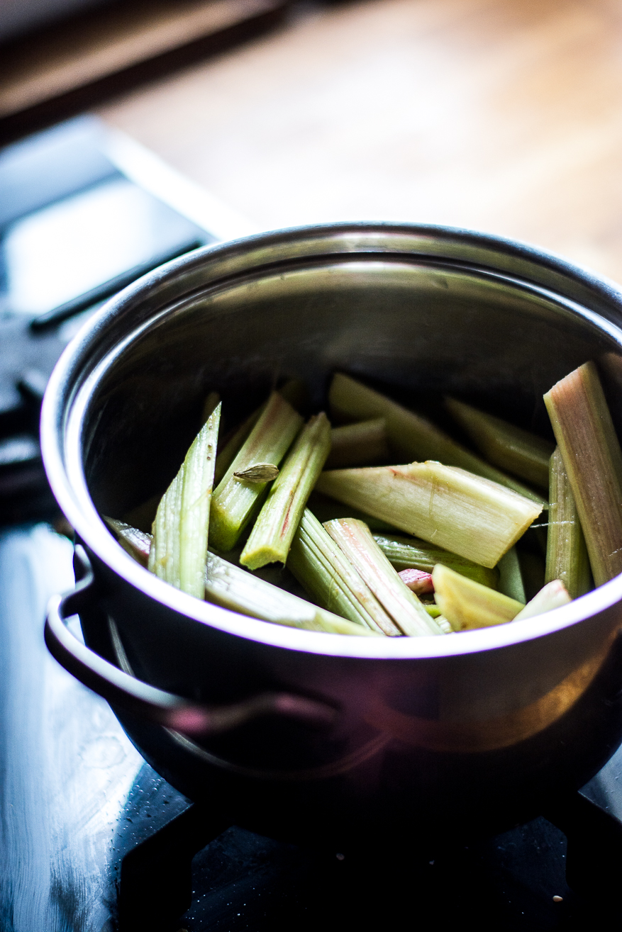 cardamom infused rhubarb - kitchen hoopla