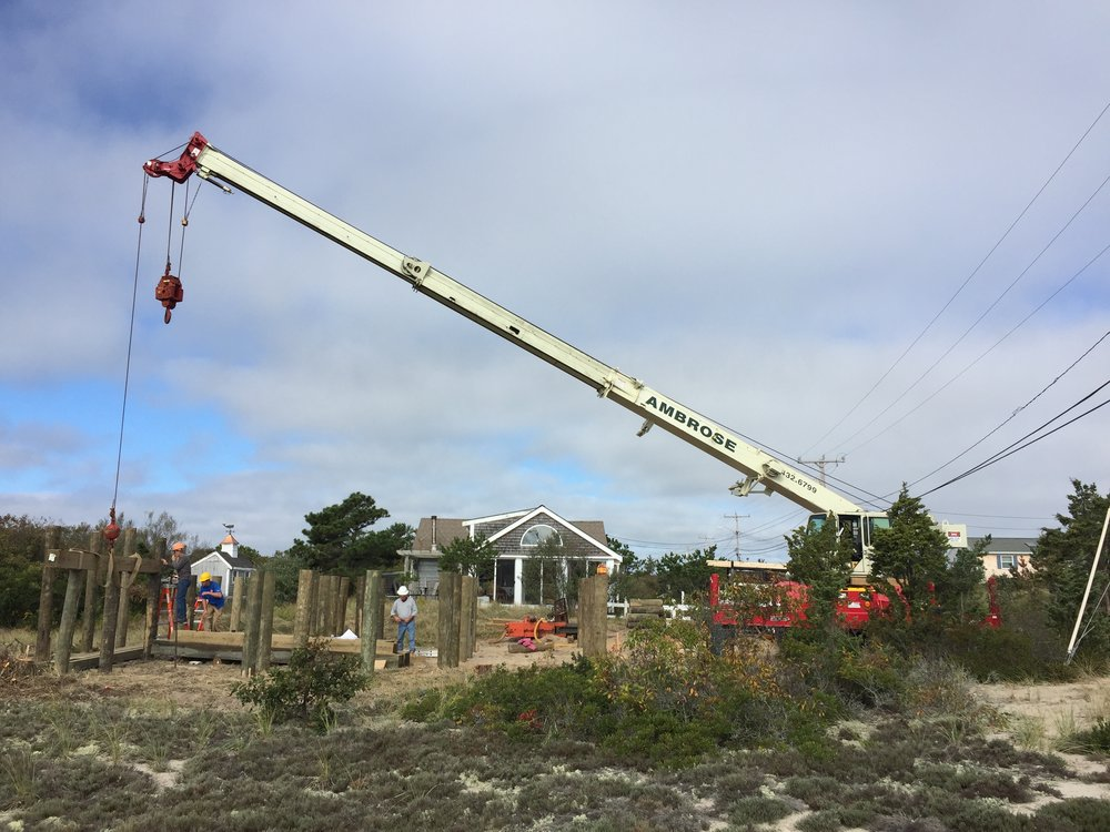 Ambrose Homes crane driving piles