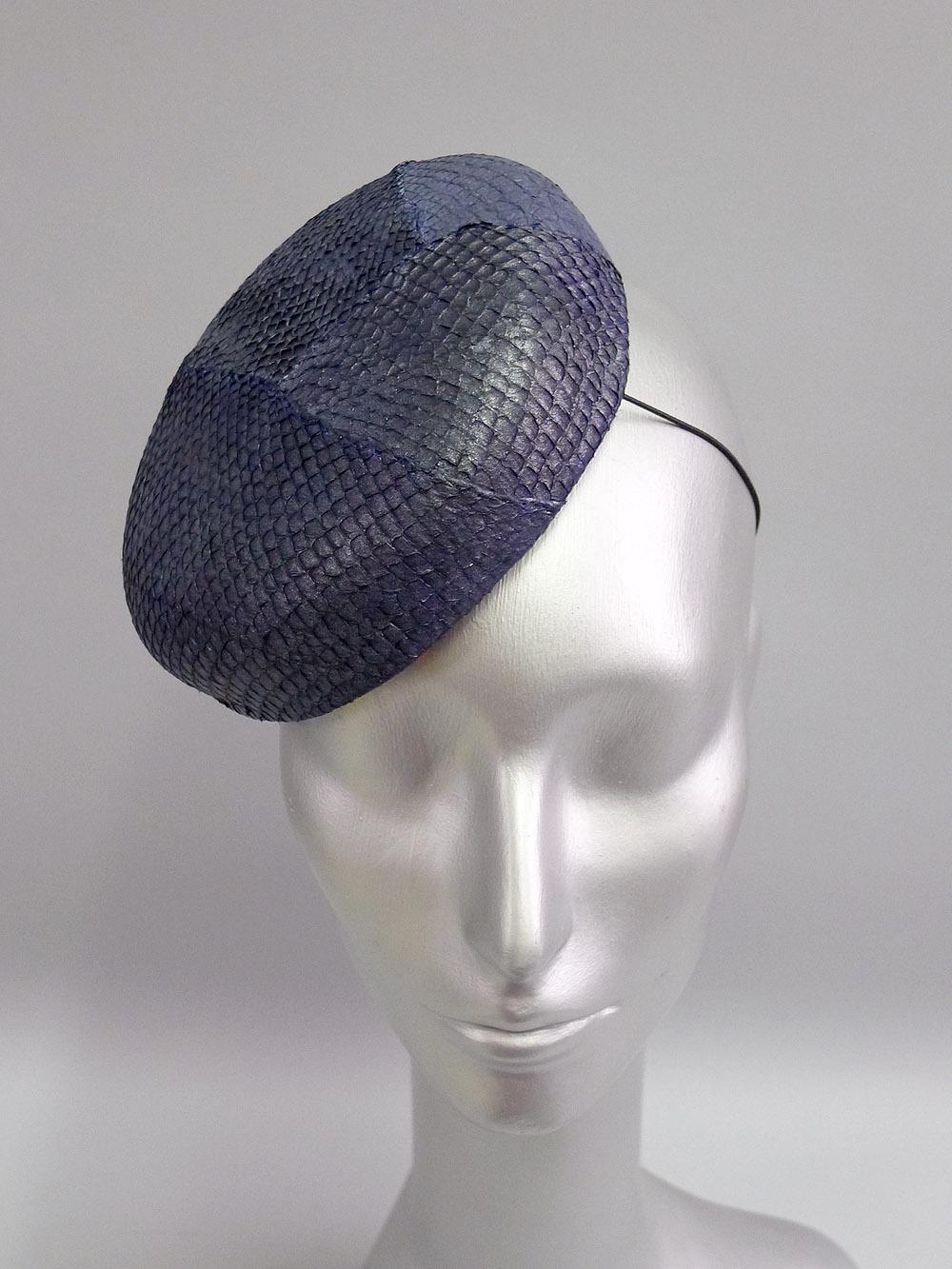 42c1b108d2f Mini Beret Larger Fascinator Cocktail Hat in Metallic Denim Salmonskin — Jasmin  Zorlu Millinery