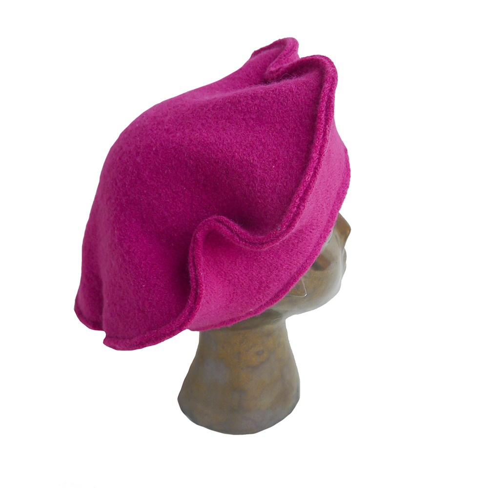 5c6652cf308fe Eco Dream Beret in Fuchsia Boiled Wool — Jasmin Zorlu Millinery