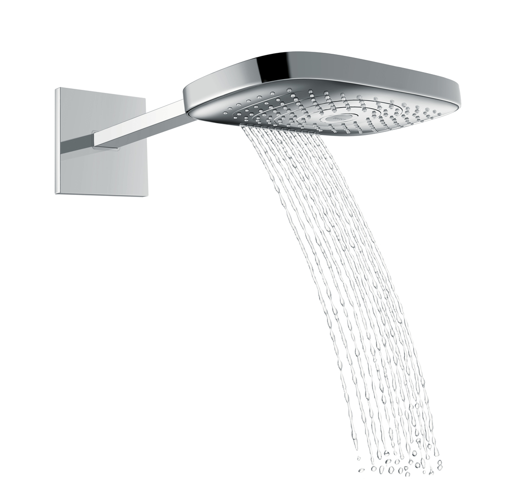 Hansgrohe_RaindanceSelect_E300_3jet_OverheadShower_Chrome_Water.jpg