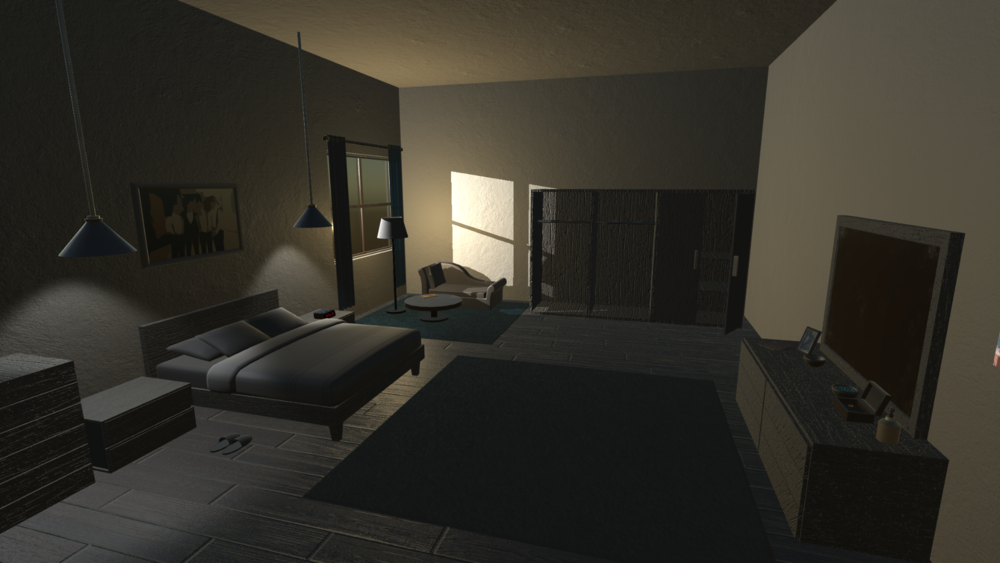 Bedroom scene from Project Phoenix Maya, Photoshop, Substance Designer, Substance Painter Screenshot from Unity 5 game engine