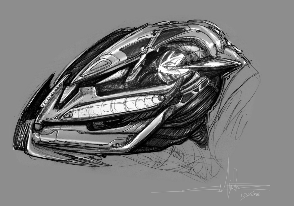 helmet design for alien creature