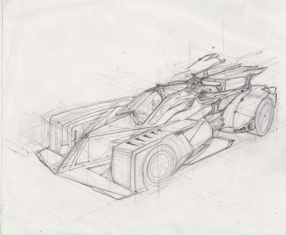 group C futuristic race car sketch.