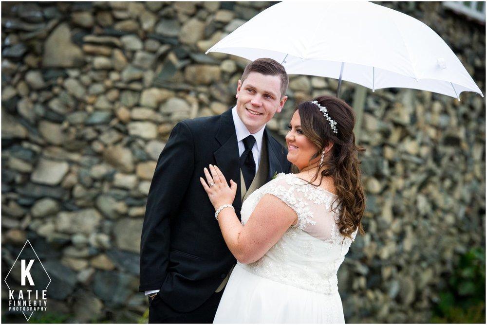 Couple with white umbrella